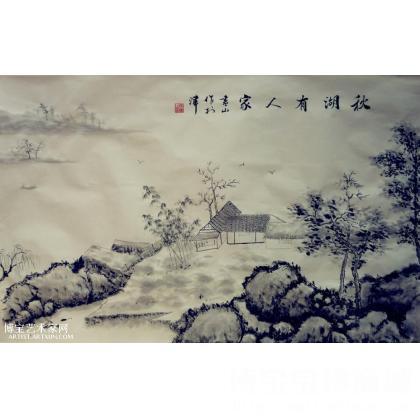 书山作品 秋湖有人家 山水画 类别 国画山水作品 淘宝 名人字画 中国